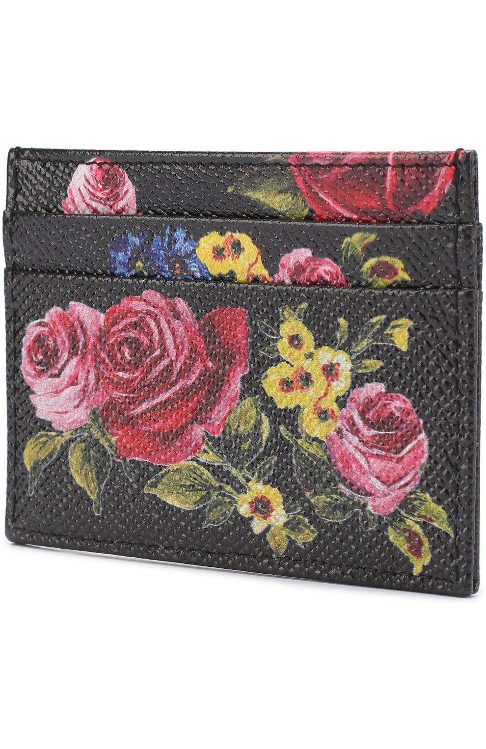Кожаный футляр для кредитных карт с принтом Dolce & Gabbana черного цвета | Фото №2