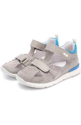 Замшевые сандалии с застежками велькро и отделкой из кожи | Фото №1