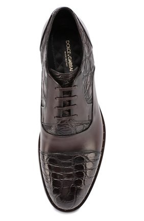 Классические кожаные дерби Napoli с отделкой из кожи крокодила Dolce & Gabbana коричневые | Фото №4