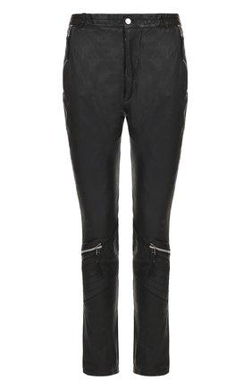 Кожаные брюки прямого кроя с декоративной отделкой  Barbara I Gongini черные | Фото №1