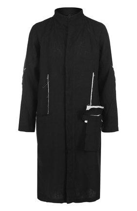 Льняной плащ прямого кроя с контрастной отделкой Barbara I Gongini черного цвета | Фото №1