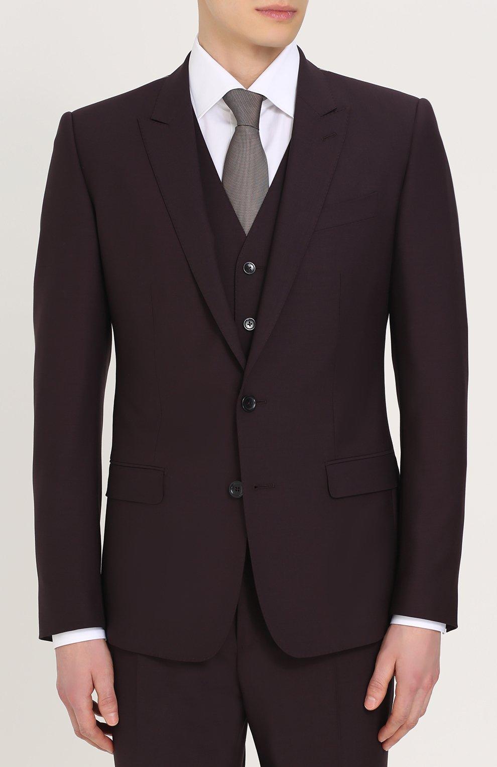 Шерстяной костюм-тройка Dolce & Gabbana фиолетовый | Фото №2