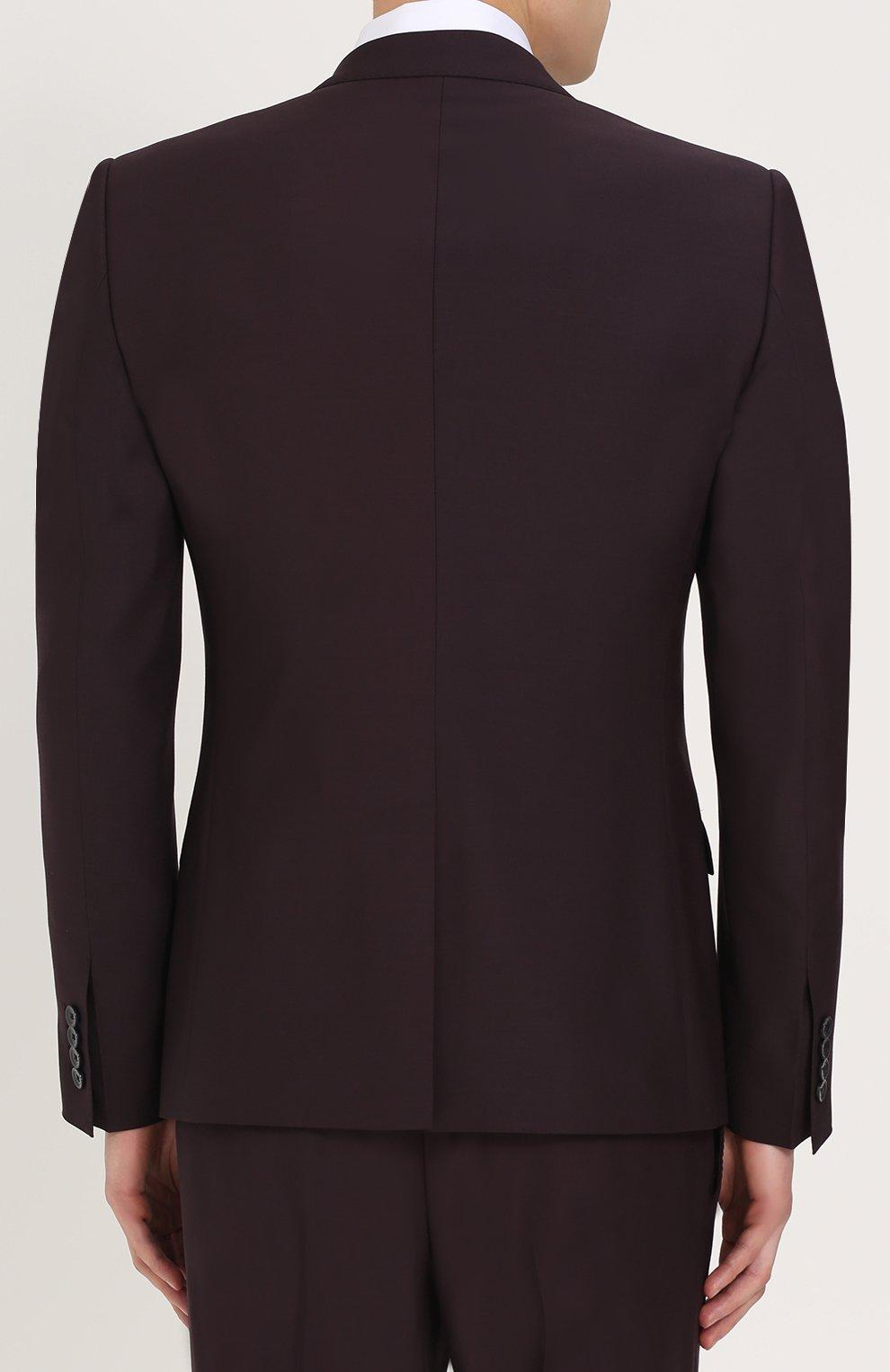 Шерстяной костюм-тройка Dolce & Gabbana фиолетовый | Фото №3