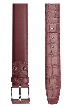 Мужской кожаный ремень с отделкой из кожи крокодила ZILLI бордового цвета, арт. KZVCIB-A0171/7820 | Фото 2