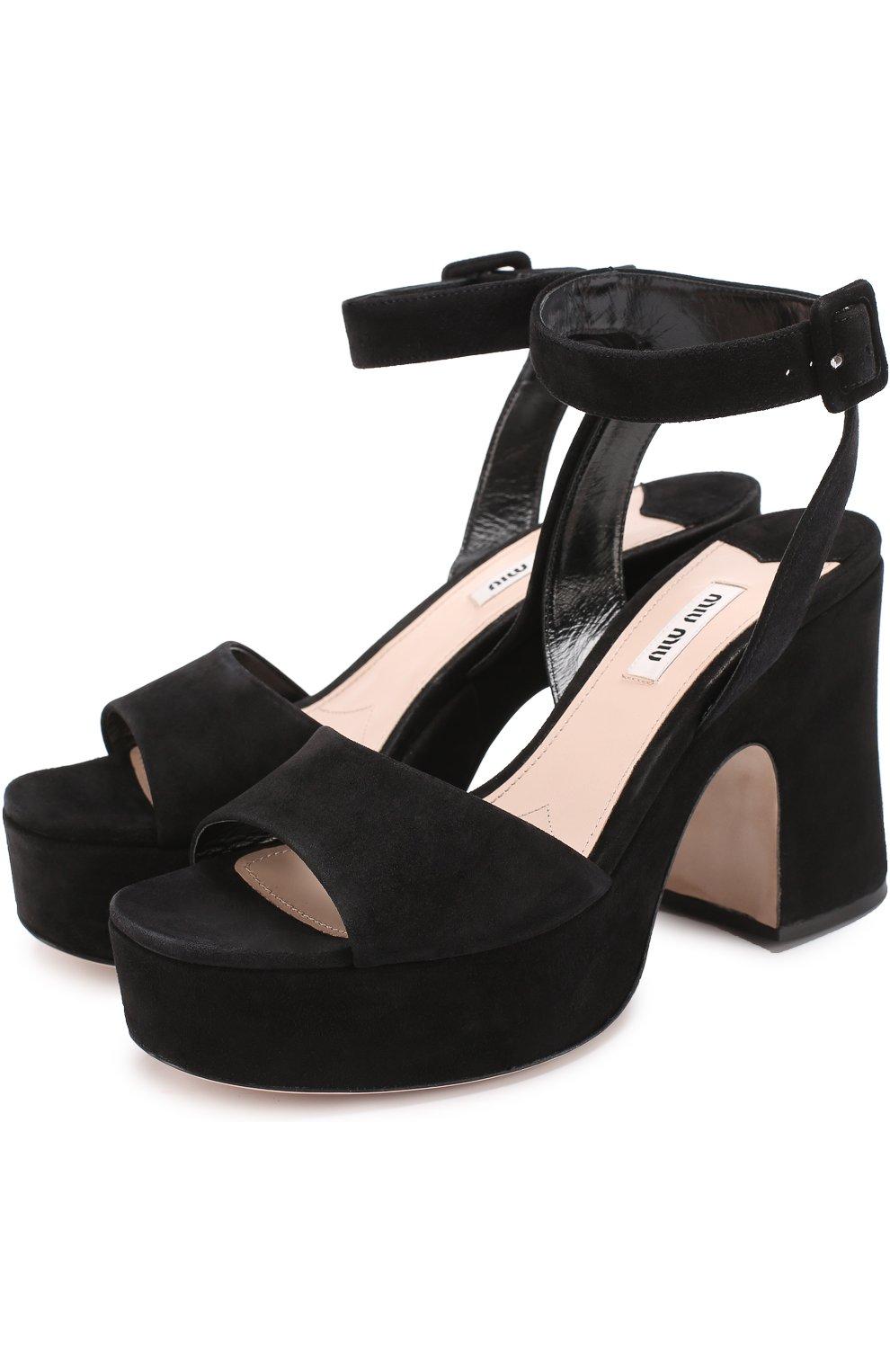 Женские черные замшевые босоножки на устойчивом каблуке MIU MIU ... 0edaa59d786