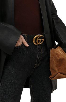 Женский кожаный ремень GUCCI черного цвета, арт. 400593/AP00T   Фото 2