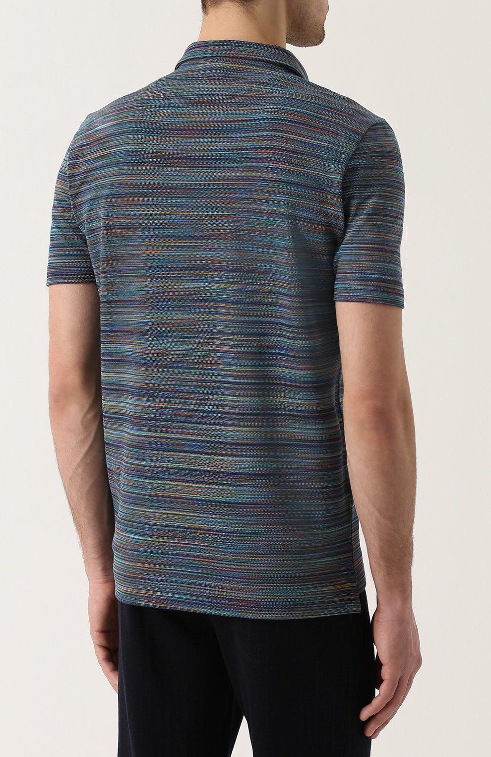 Хлопковое поло с V-образным вырезом Missoni темно-синее | Фото №4
