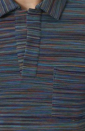 Хлопковое поло с V-образным вырезом Missoni темно-синее | Фото №5