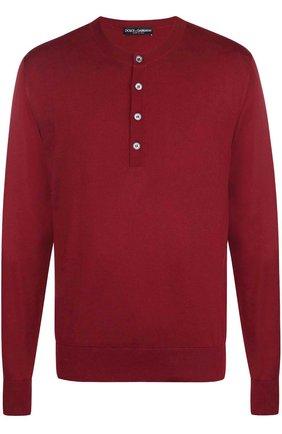 Шелковый джемпер тонкой вязки с воротником на пуговицах Dolce & Gabbana красный | Фото №1