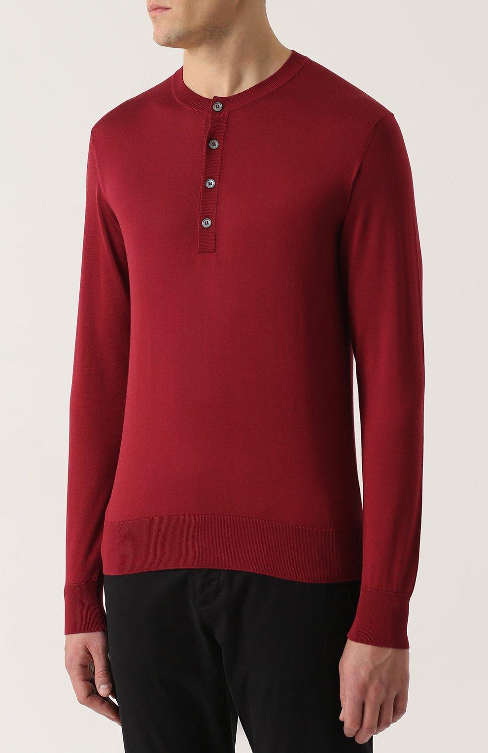 Шелковый джемпер тонкой вязки с воротником на пуговицах Dolce & Gabbana красный | Фото №3