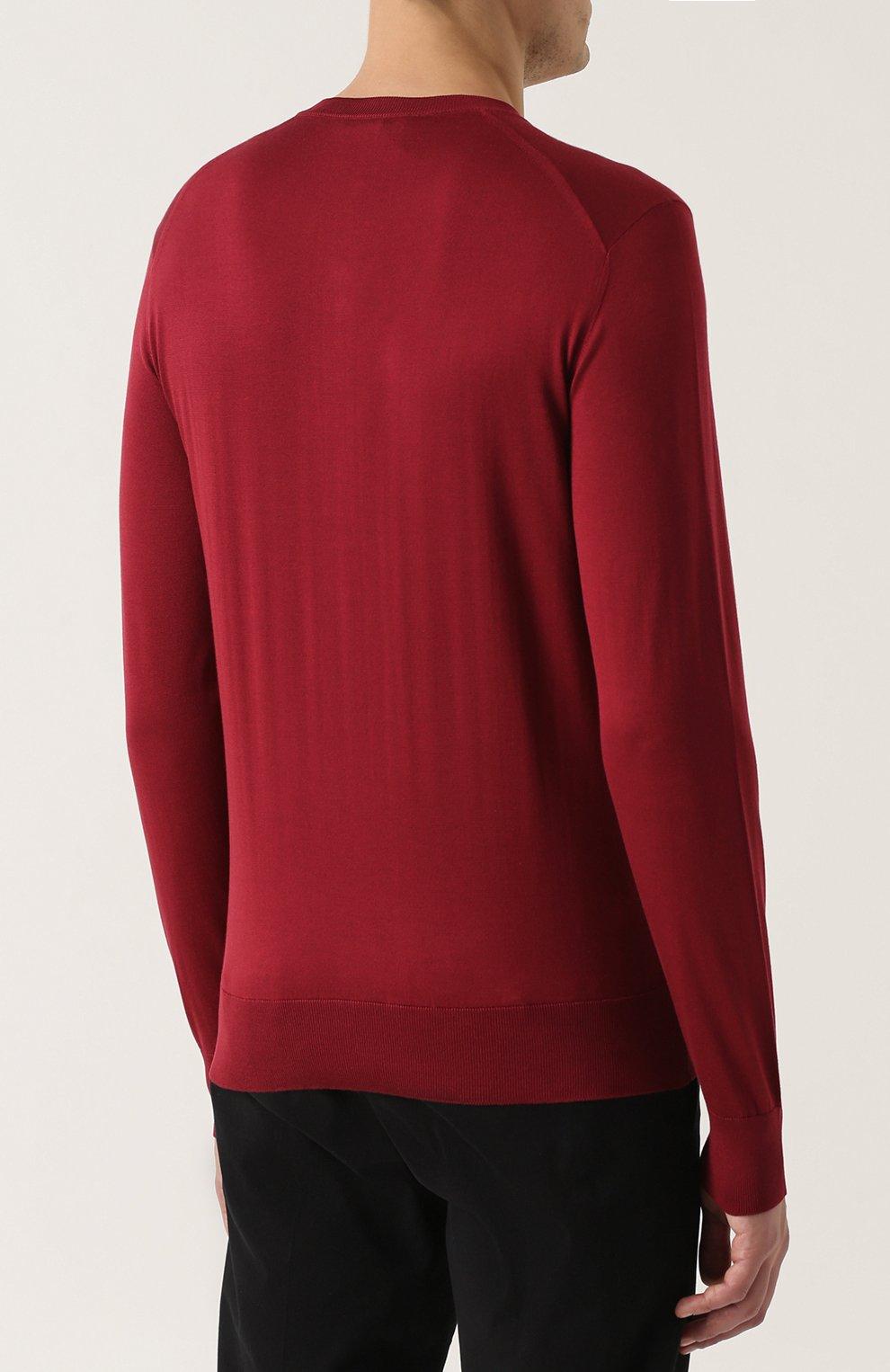 Шелковый джемпер тонкой вязки с воротником на пуговицах Dolce & Gabbana красный | Фото №4