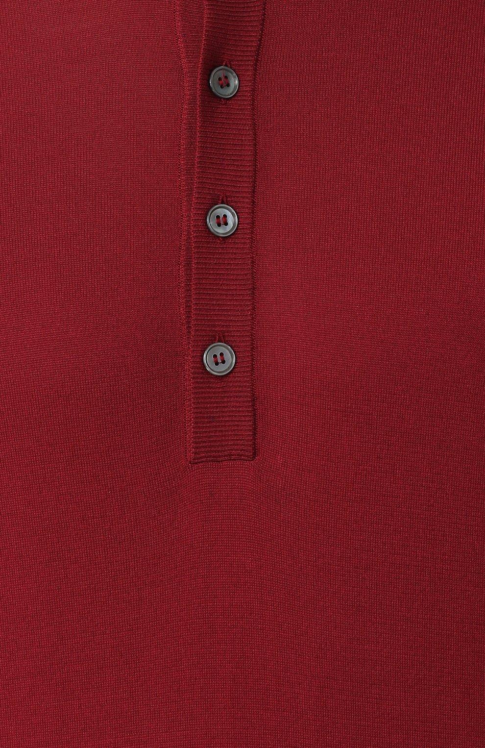 Шелковый джемпер тонкой вязки с воротником на пуговицах Dolce & Gabbana красный | Фото №5
