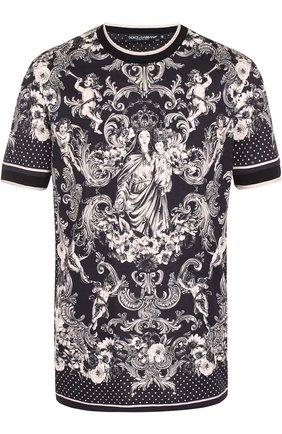 Хлопковая футболка с принтом Dolce & Gabbana коричневая | Фото №1