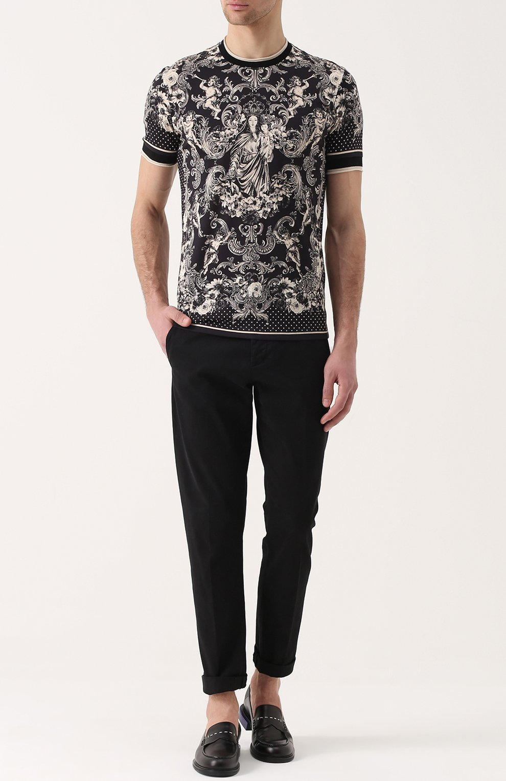Хлопковая футболка с принтом Dolce & Gabbana коричневая | Фото №2