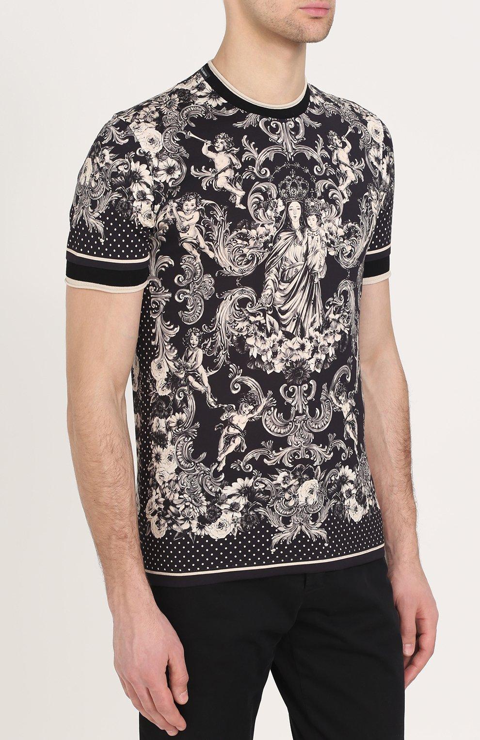 Хлопковая футболка с принтом Dolce & Gabbana коричневая | Фото №3