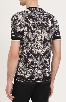 Хлопковая футболка с принтом Dolce & Gabbana коричневая | Фото №4