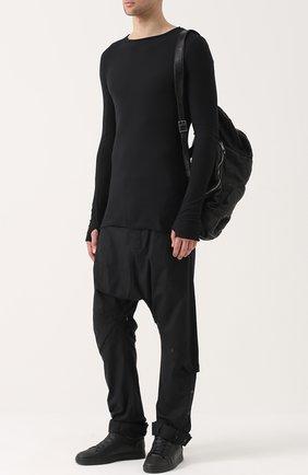 Хлопковые брюки свободного кроя с заниженной линией шага Barbara I Gongini черные | Фото №1