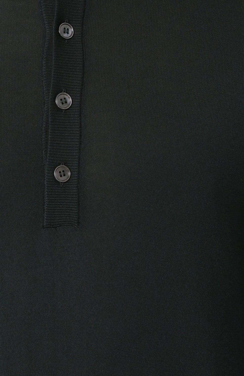Шелковый джемпер тонкой вязки с воротником на пуговицах | Фото №5