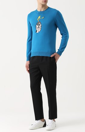 Хлопковый джемпер тонкой вязки с принтом Burri Milano темно-синий   Фото №1