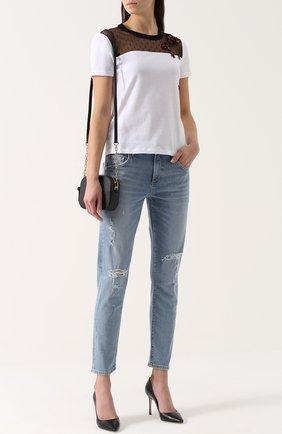 Укороченные джинсы прямого кроя с потертостями Agolde голубые | Фото №1
