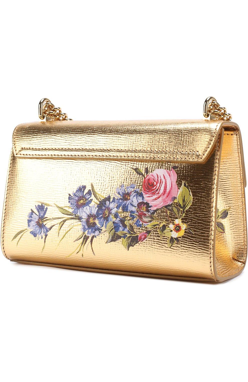 1f3f61e783a5 Сумка Lucia из металлизированной кожи с росписью Dolce & Gabbana золотого  цвета | Фото №2