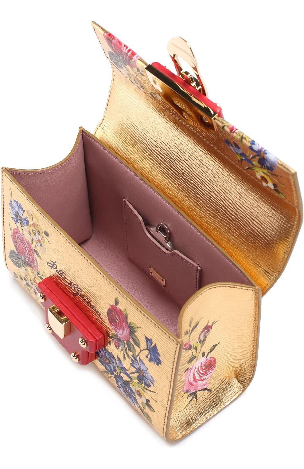 7be68ee82e29 Сумка Lucia из металлизированной кожи с росписью Dolce & Gabbana золотого  цвета | Фото №3