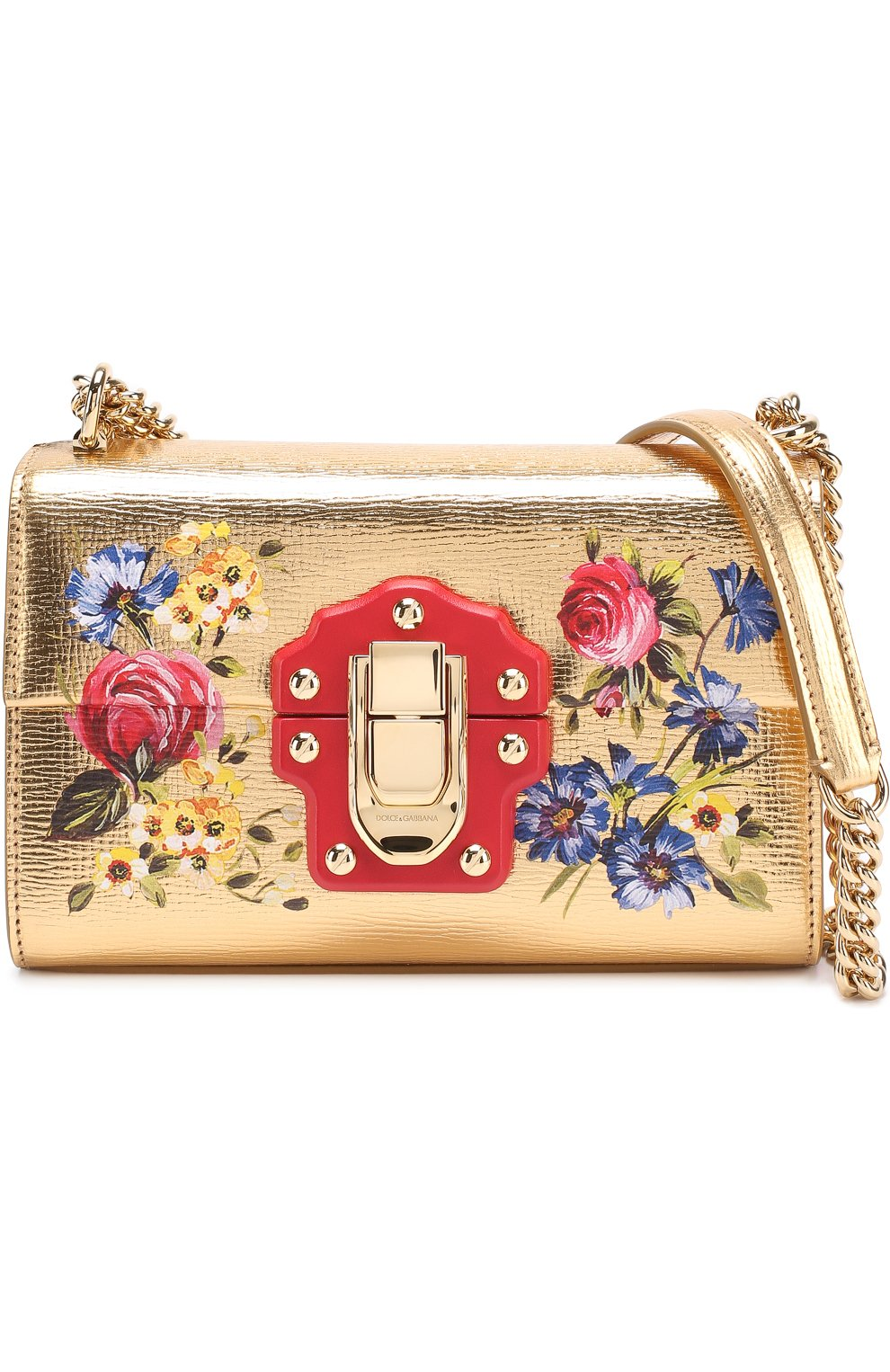 078a210cecfb Сумка Lucia из металлизированной кожи с росписью Dolce & Gabbana золотого  цвета | Фото №4