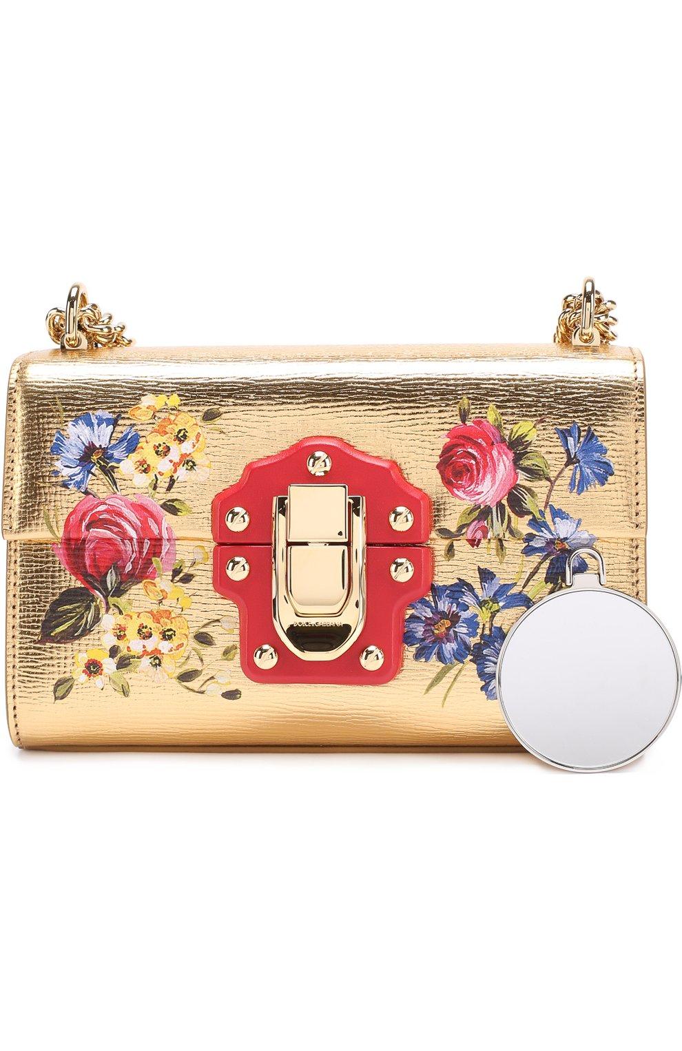 5e353db33f9a Сумка Lucia из металлизированной кожи с росписью Dolce & Gabbana золотого  цвета | Фото №5