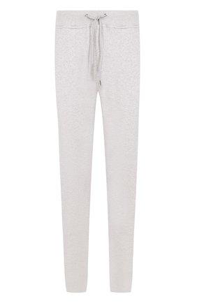 Хлопковые брюки прямого кроя с поясом на резинке Frankie Morello серые | Фото №1