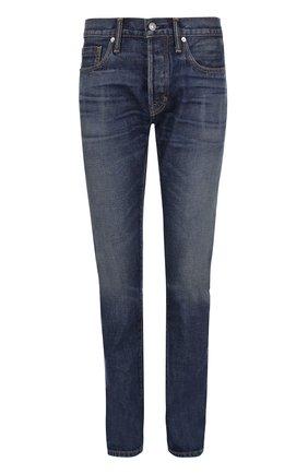 Мужские джинсы прямого кроя с контрастной прострочкой TOM FORD голубого цвета, арт. BMJ11TFD002 | Фото 1