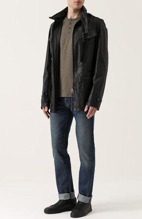 Мужские джинсы прямого кроя с контрастной прострочкой TOM FORD голубого цвета, арт. BMJ11TFD002 | Фото 2