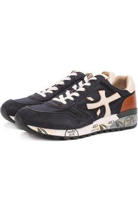 Комбинированные кроссовки на подошве с принтом Premiata темно-синие | Фото №1