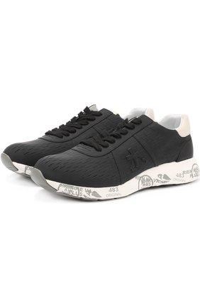 Кожаные кроссовки на подошве с принтом