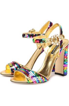 Босоножки Keira из металлизированной кожи с пайетками Dolce & Gabbana разноцветные   Фото №1