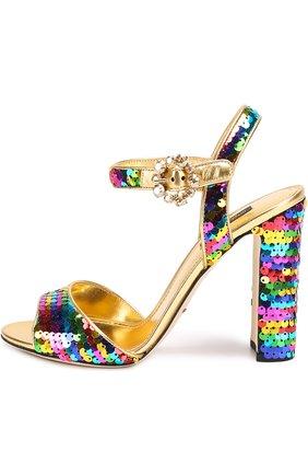 Босоножки Keira из металлизированной кожи с пайетками Dolce & Gabbana разноцветные   Фото №2