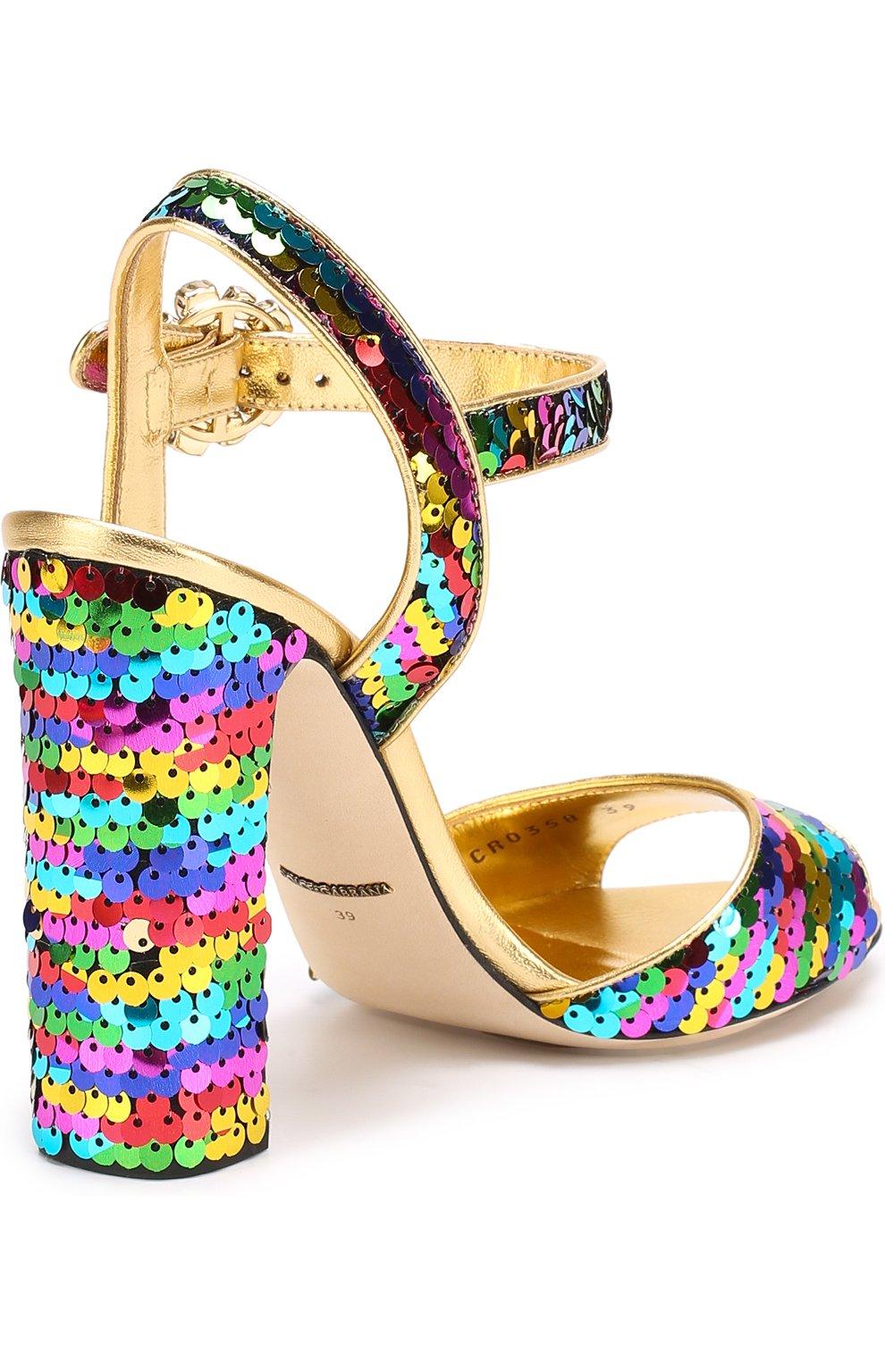 Босоножки Keira из металлизированной кожи с пайетками Dolce & Gabbana разноцветные   Фото №3