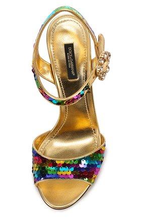 Босоножки Keira из металлизированной кожи с пайетками Dolce & Gabbana разноцветные   Фото №4