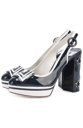 Лаковые туфли Vally с аппликациями Dolce & Gabbana синие | Фото №1