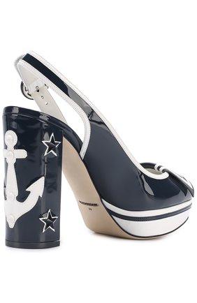 Лаковые туфли Vally с аппликациями Dolce & Gabbana синие | Фото №3