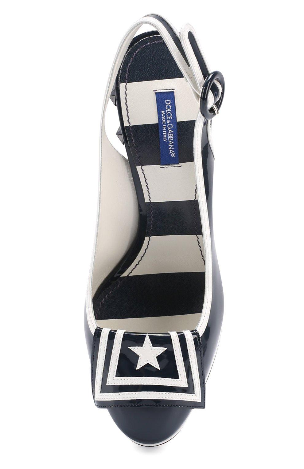 Лаковые туфли Vally с аппликациями Dolce & Gabbana синие | Фото №4