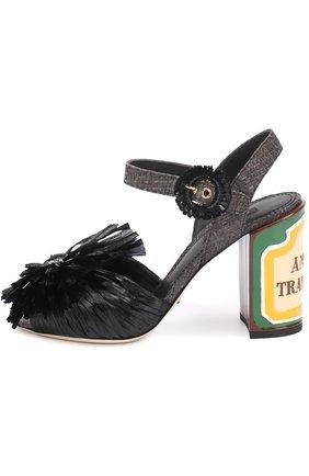 Плетеные босоножки Keira на каблуке с декором Dolce & Gabbana черные | Фото №2
