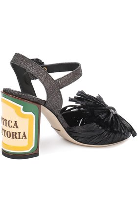 Плетеные босоножки Keira на каблуке с декором Dolce & Gabbana черные | Фото №3