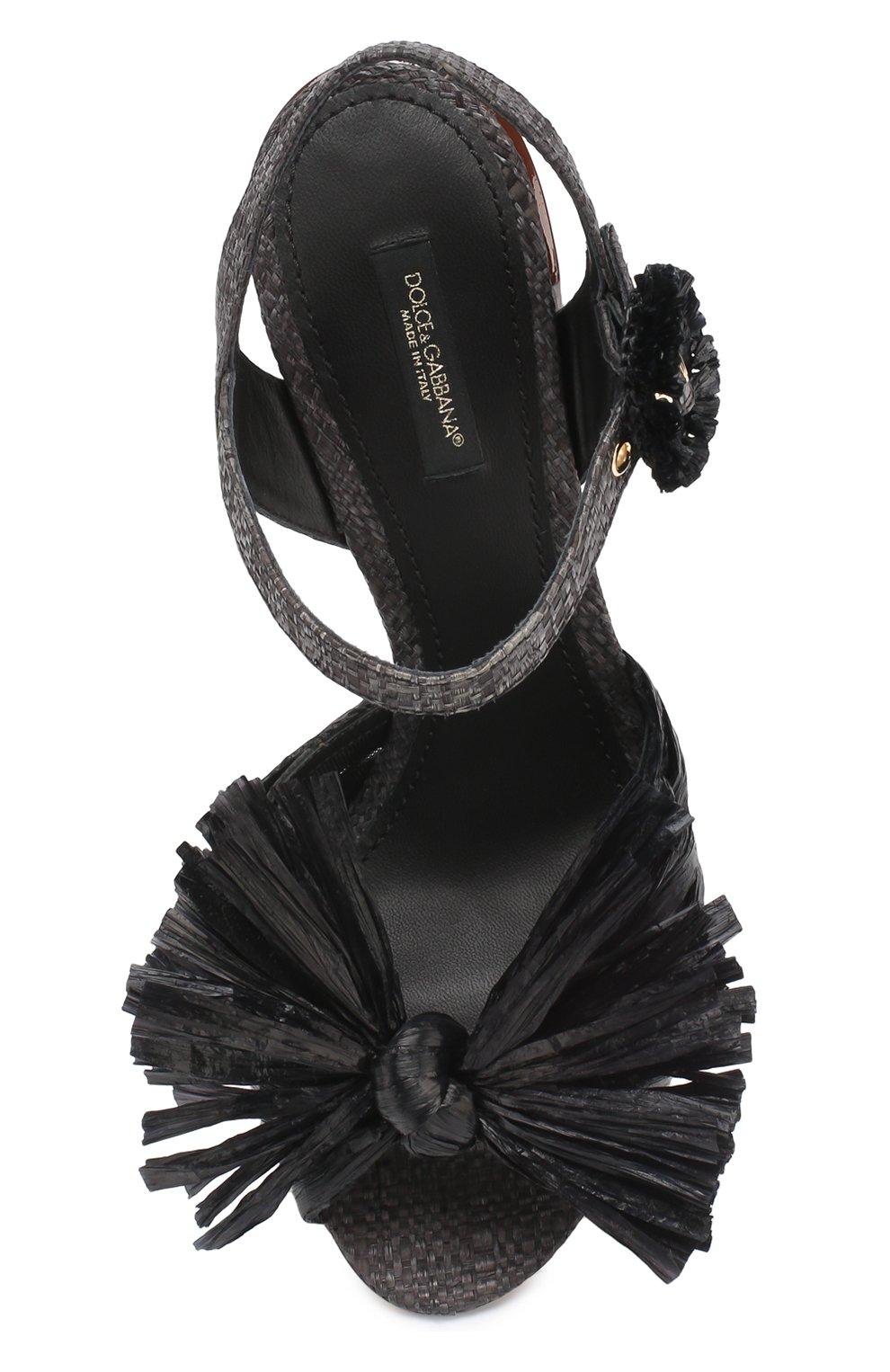 Плетеные босоножки Keira на каблуке с декором Dolce & Gabbana черные | Фото №4