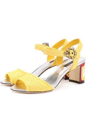 Плетеные босоножки Keira на каблуке с декором Dolce & Gabbana желтые   Фото №1
