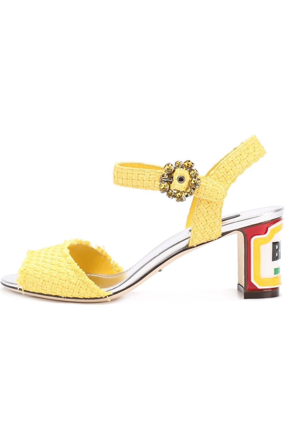 Плетеные босоножки Keira на каблуке с декором Dolce & Gabbana желтые   Фото №2