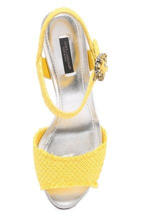 Плетеные босоножки Keira на каблуке с декором Dolce & Gabbana желтые   Фото №4