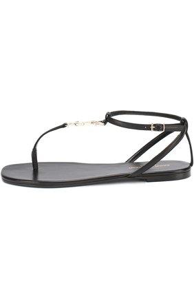 Женские кожаные сандалии с логотипом бренда SAINT LAURENT черного цвета, арт. 466680/B34JJ | Фото 2