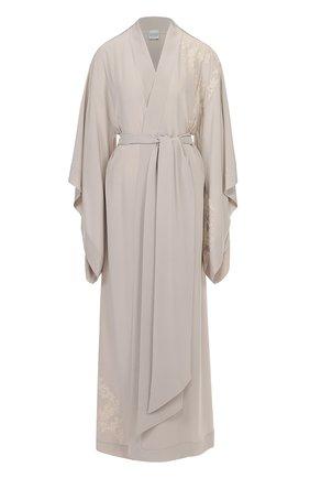Шелковый халат с асимметричными рукавами и поясом | Фото №1
