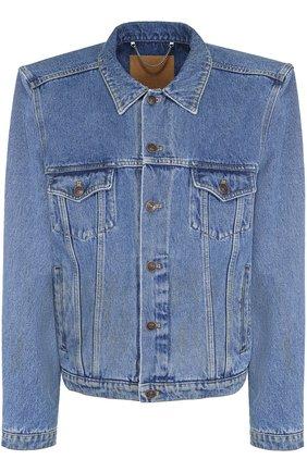 Джинсовая куртка прямого кроя с широкими плечами