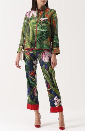 Женская шелковая блуза прямого кроя с цветочным принтом и контрастной отделкой F.R.S., цвет зеленый, арт. CA000122/TE00138 в ЦУМ | Фото №1